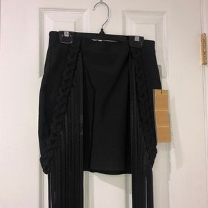 Fringe detail bandage mini skirt